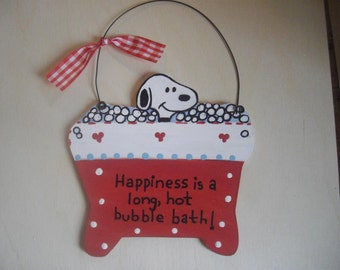 Snoopy Bathroom Wall Hanging - Happiness is