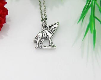 Wolf Necklace, Silver Wolf Necklace, Wolf Charm, Animal Charm, Teen Gift, Personalized Gift, Best Friend Gift, Coworker Gift