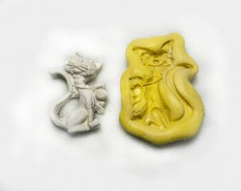 cat mold , cat silicon mold, Silicone mold ,push mold, food supplies mold, clay supplies molds, # 64 s