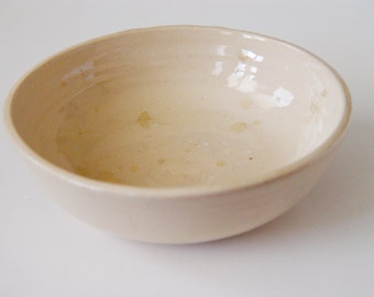 Cereal Bowl, Off White \ Buff Clay Beige color Kitchen Serving dish or Ring Holder, Wheel Thrown stoneware pottery ceramic