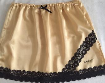Gold & Black Satin Petticoat Half Slip Size 16