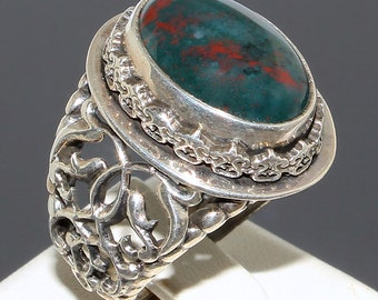 Bloodstone Mens Ring Sterling Silver 925 Unique handcrafted Jewelry