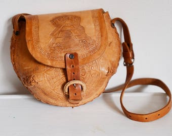 Vintage Mexican with Aztec Detail Tooled Leather Purse