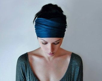 PEACOCK BLUE Head Scarf, Boho Headband, Dark Teal Blue Head Wrap, Boho Head Wrap, Jersey Headband, Yoga Headband, Boho Hair Accessories