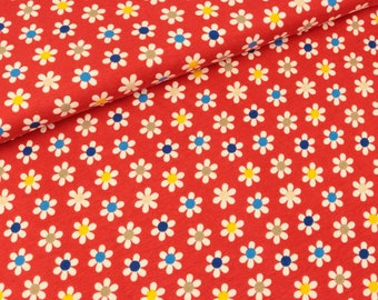 Cotton jersey Small Flowers colored on red (13.50 EUR/meter)