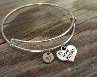 Happy Birthday Bangle - Happy Birthday Bracelet - Happy Birthday Gift - Happy Birthday Jewelry - I/B