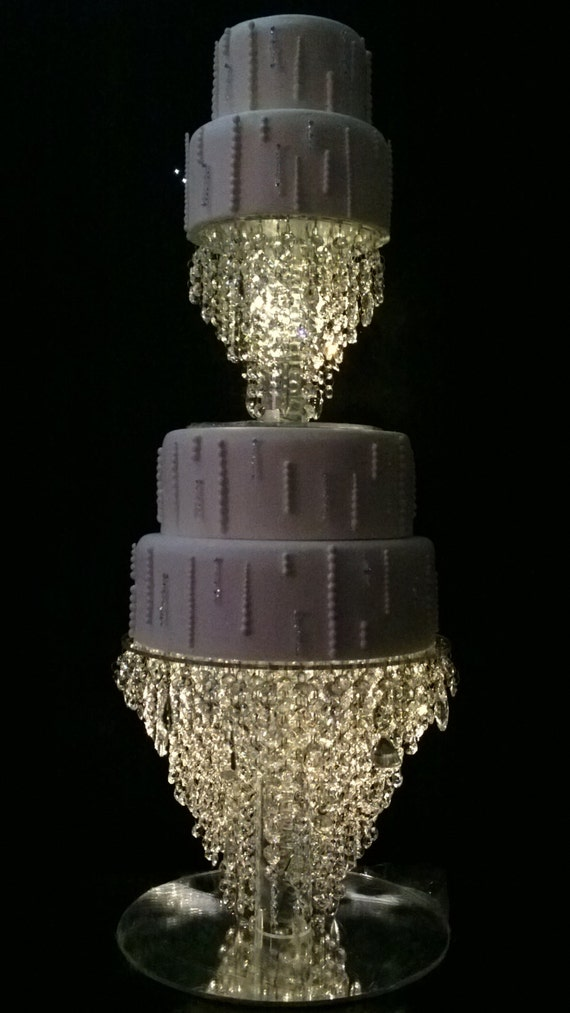 wedding cake stand with hanging crystals cake stand 2 tier set chandelier design faux 25684