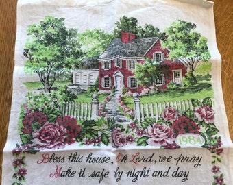 1984 Calendar Towel, Vintage Red Brick House Cottage White Picket Fence, Cotton Linen Blend Fabric