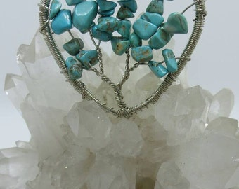 Turquoise Tree Of Life Wire Wrapped Heart Pendant.