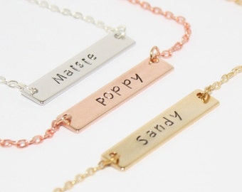 Name Necklace, Personalised Bar Necklace, Name Plate Necklace, Stamped Necklace, Custom Necklace, Women's Gifts, Personalized Name Jewelry
