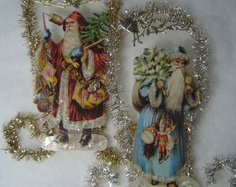 Choice of Fancy German Dresden Victorian Santa Scrap Tinsel Mica Christmas Tree Ornament