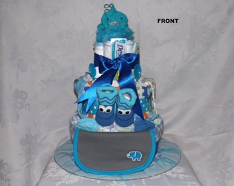 Diaper cake, Baby shower gift, Boy theme, 3 tier