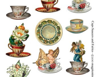 Tea Cups, Saucers and Fairies Collage Sheet - Digital Download - Printable - Instant Download