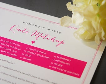 Movie Quote Matchup Game for Bridal Shower or Bachelorette Party - Printable Instant Download