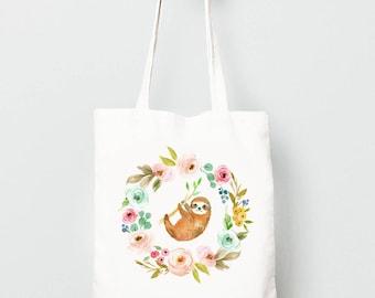 Sloth Tote Bag, Cute Sloth in Flower Wreath