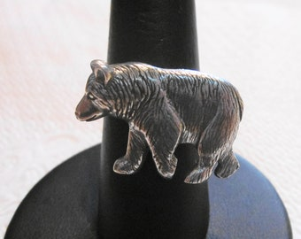 Bear Pewter Button Ring, Wire Wrapped