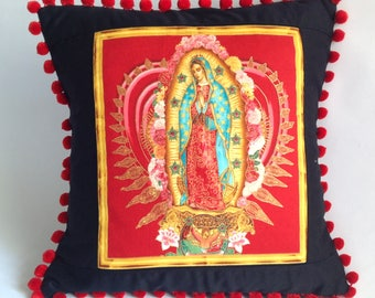Pom pom cushion, pillow cover. virgin of guadalupe handmade fabric black, red and gold.