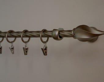 Antique Silver 'Twister' Curtain Rail/ Pole Set 180cm/16mm