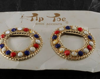 Rare Vintage Tip Toe Shoe Clips Shoe Accents New Old Stock On Card 1960's NOC #846