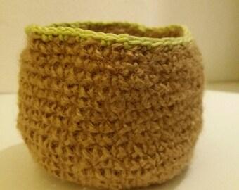 Empty basket pocket in natural burlap