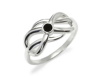 Black Onyx Ring, 925 Sterling Silver. color black, weight 3.1g, #46857