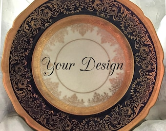 ANY DESIGN - Blue and Gold  Customized Vintage Plate, Personalized China, Monogram Wedding Plate, Bespoke Tableware, Skull China