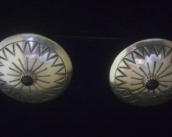 B. Yazzie Vintage Sterling Silver Onyx Inlaid Large Native American Concho Earrings