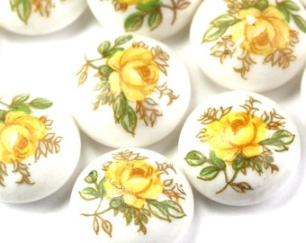 Vintage Japanese Glass Cabochons Floral Rose 12.5mm Yellow (6) RL52