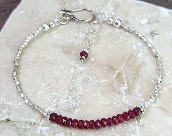 Red Ruby Pure Silver Bracelet, Karen Hill Tribe Silver, Handcrafted, Boho, Minimalist, Layering Bracelet, July Birthstone, Womens Gift