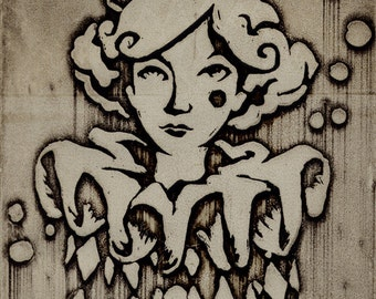 Harlequin Woman Intaglio Etching Print