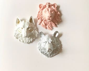 Set of 3 SmALL Faux Taxidermy Animal Head Wall Mounts / Painted in White and Gold Wolf -Peach Lion- Silver Bear Mini Animal Wall art