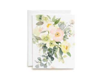 Poppies and Hellebores Bouquet Blank Greeting Card