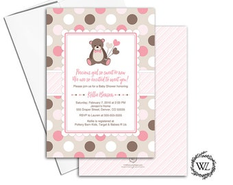 teddy bear baby shower invitation for a girl baby shower invites, polka dots, pink brown beige, printed or printable invitations - WLP00758