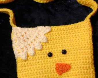 Crocheted chick tote.