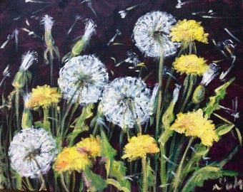 "Dandelions painting flowers still life original floral painting 8 x 10"""