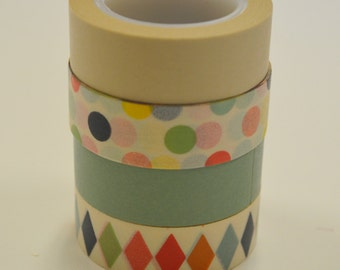Washi Tape Set - 15mm - Neutral Patterns and Solids - Four Rolls Washi Tape #34, 965, 33, 409