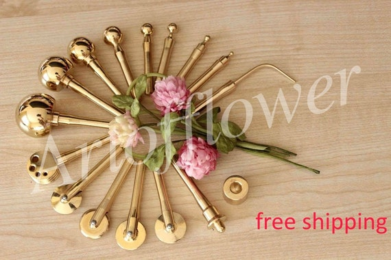 16 fabric flower making tools millinery high quality brass set mightylinksfo Gallery