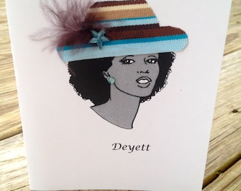 Set of 8 Handmade Personalized Stationery Notecards African American Black