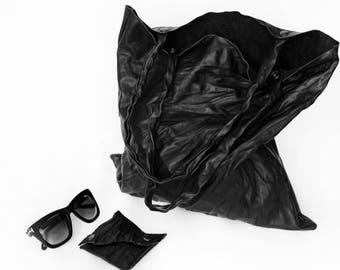 Lather tote bag/ black leather shopper bag