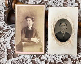 Same Woman Different Ages - CDV carte de visite Tintype antique photograph