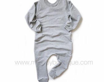 Bamboo Sweatshirt Baby & Toddler Romper - BLACK / CHARCOAL / GREY / PLUM / DENIM BLUE / PINK / OLIVE GREEN