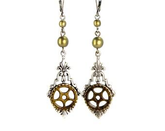 Steampunk Earrings Silver Neo Victorian Earrings with Pocket Watch Gear and Czech Glass