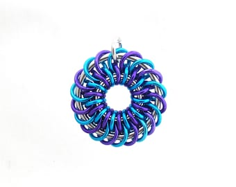 Jump Ring Jewelry, Chain Maille Pendant, Blue and Purple Pendant, Multicolor Jewelry, Spiral Pendant