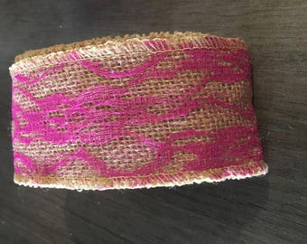 Burlap canvas Ribbon and lace sold by 50 cm