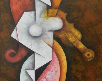 VIOLININ woman large canvas cubism