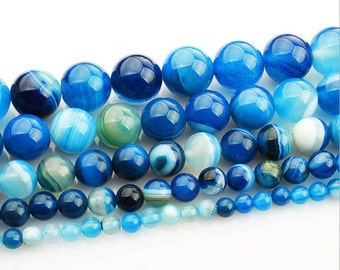 Sky Blue banded agate round Ball loose gemstone beads strand 16'' 4mm 6mm 8mm 10mm 12mm