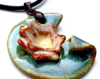 Monet's water lily ceramic necklace
