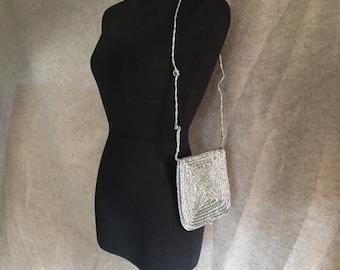 Vintage 80's Silver Bag, Silver Shoulder Bag, Metallic Glam Shoulder Bag, Purse, Vegan Friendly, Disco 70's style