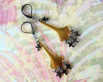 Gold and Black Cross Earrings (4384)