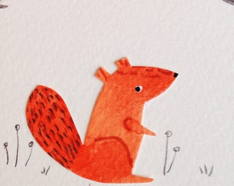 Tiny Squirrel Autumn Wreath Collage Wall Art